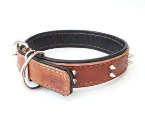 Point Leather Dog Collar: Spiked lined collar. Available online from Yes.Pet