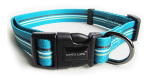 Dog's Life Dog Collar: Designer Pooch Webbing Collar - Stripes. Available online from Yes.Pet