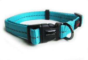 Dog's Life Dog Collar: Reflective Supersoft Webbing Collar - Turquoise. Available online from Yes.Pet