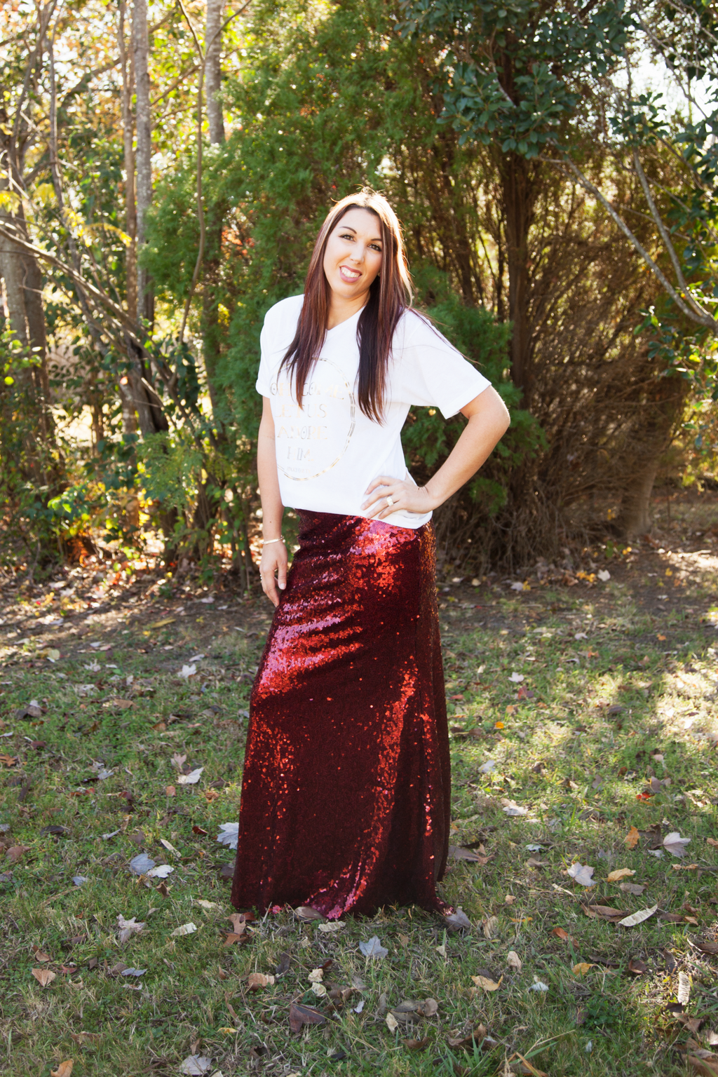 Burgundy Sequin Maxi Skirt