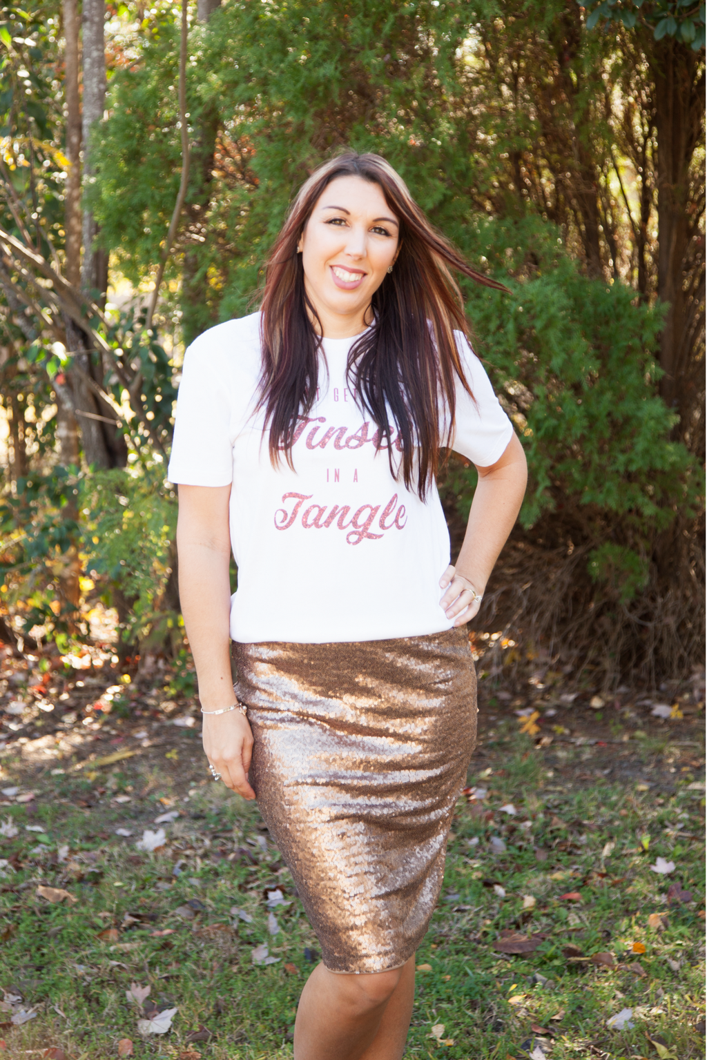Bronze Sequin Pencil Skirt
