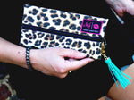 """Savannah"" (Cotton Leopard Print) Makeup Junkie Bag"