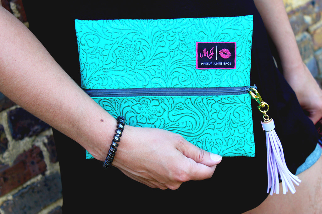 """Turquoise Dream"" (Vegan Tooled Leather) Makeup Junkie Bag"