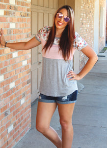 Floral Color Block Top