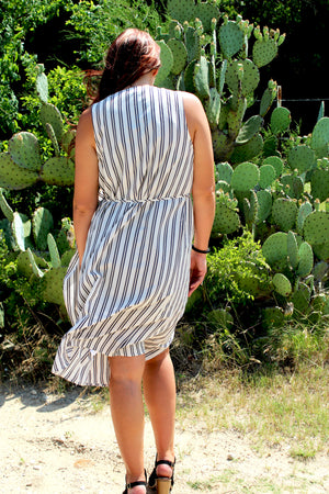 Pinstripe Sleeveless Duster