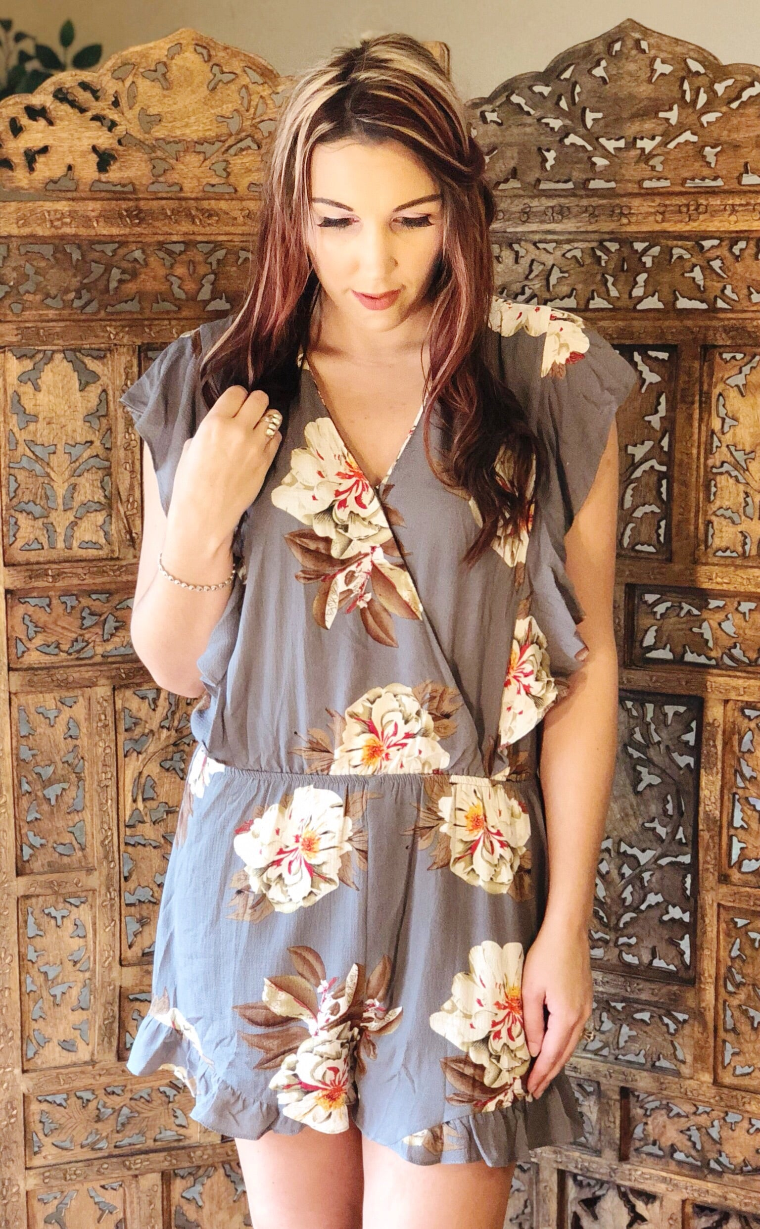 Floral Gray Romper
