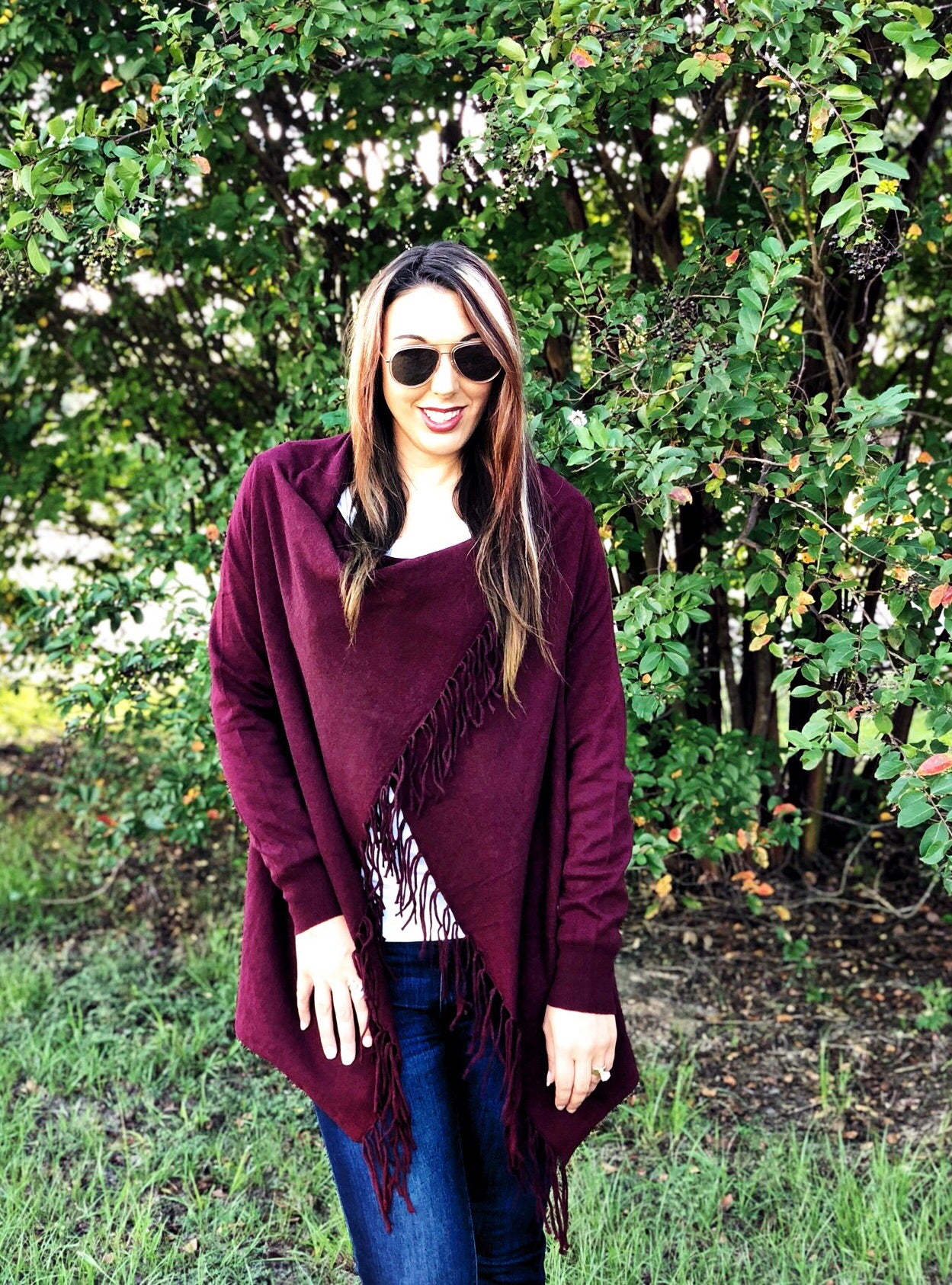 Merlot Fringe Sweater