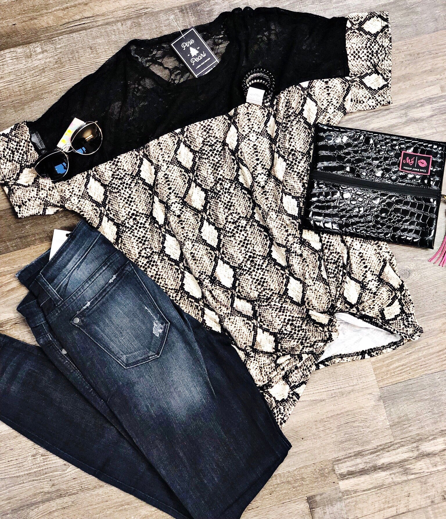 Snakeskin & Lace Top