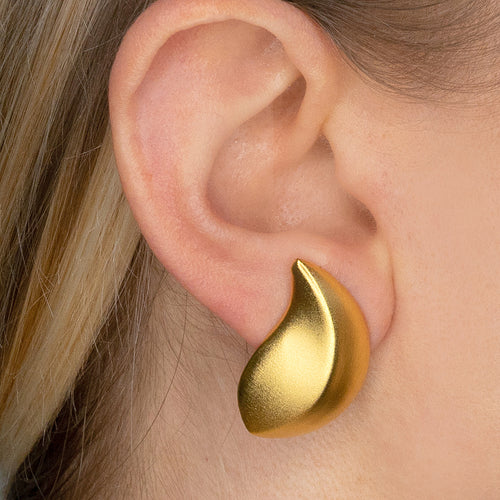 Satin Gold Leaf Clip Earrings