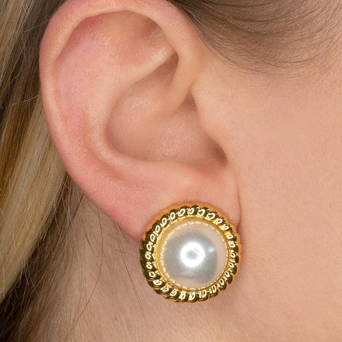 Gold Twist And Cultura Pearl Clip Earrings