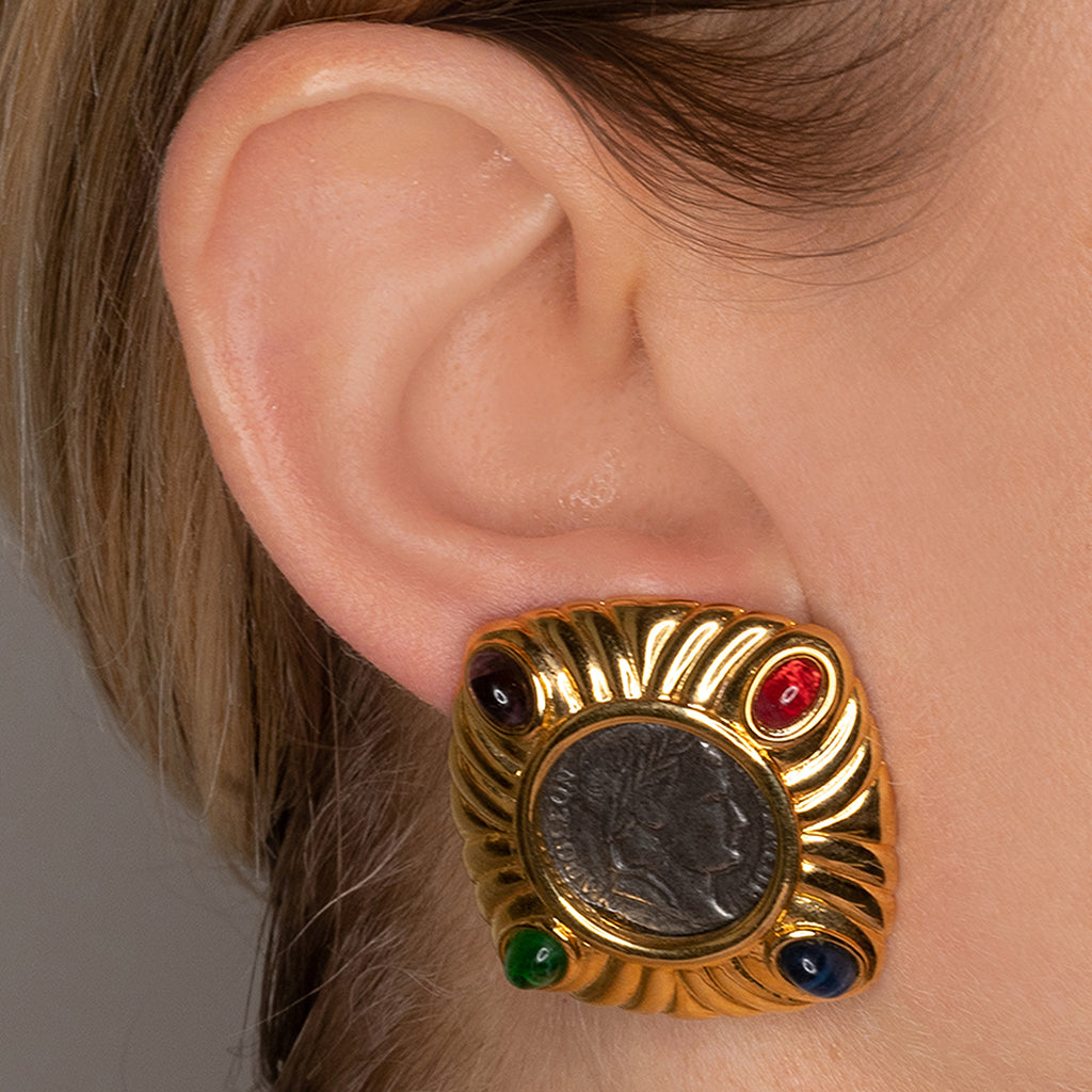 Multi Cabochon Coin Clip Earrings