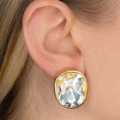 Faceted Crystal Headlight Clip Earrings