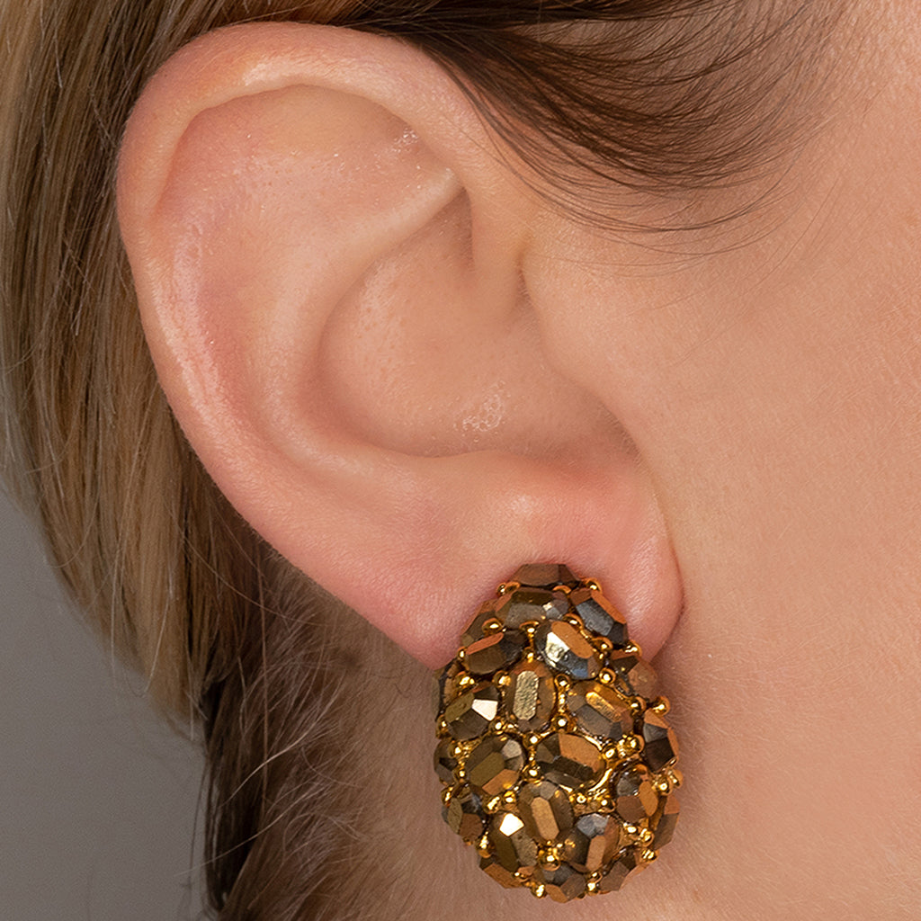 Gold Crystal Nugget Clip Earrings