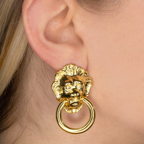 Lionhead Doorknocker Pierced or Clip Earrings