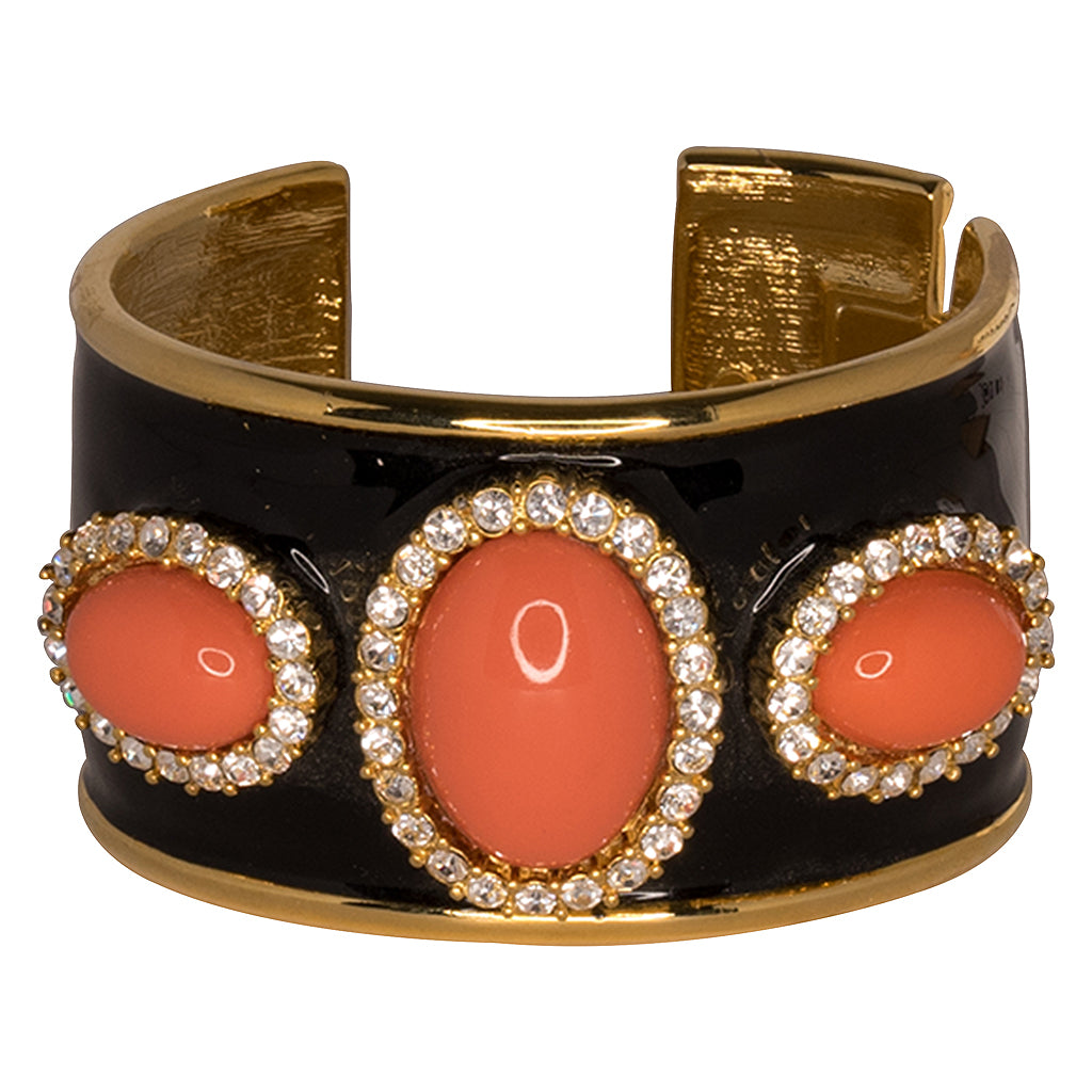 Kenneth Jay Lane Black Enamel Coral Cuff Plated gold/black/coral tx6dzA