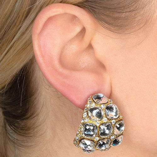 Crystal Dome Clip Earrings
