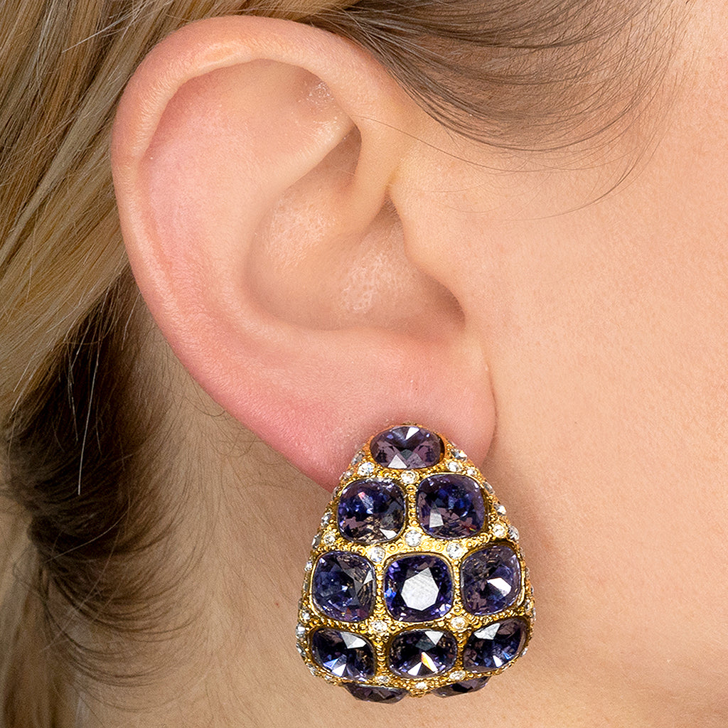 Amethyst & Crystal Dome Clip Earrings