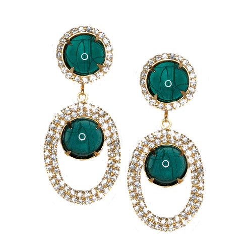 Flawed Emerald Open Teardrop Clip Earrings