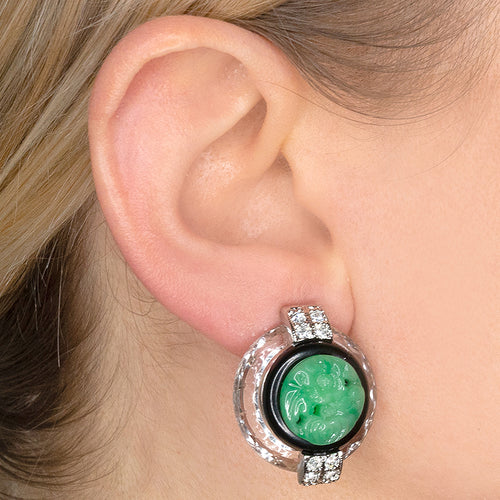 Clear Carved Jade Clip Earrings
