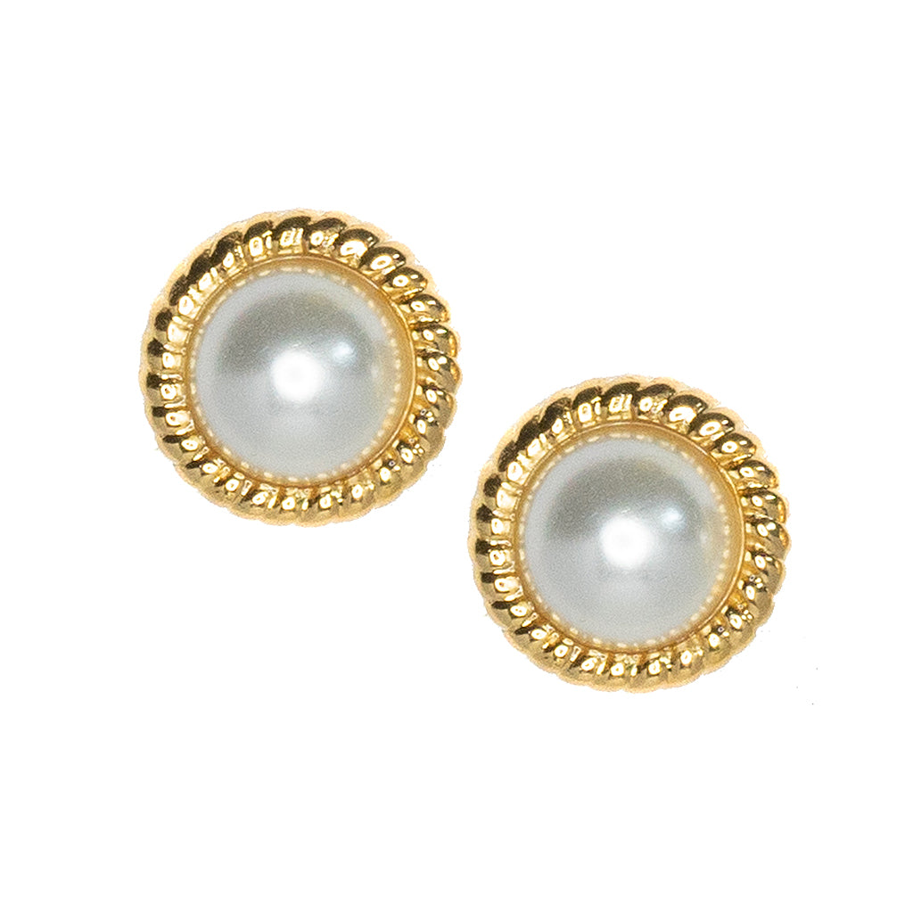 Kenneth Jay Lane Gold Twist And Cultura Pearl Earrings Gold ODwbIX