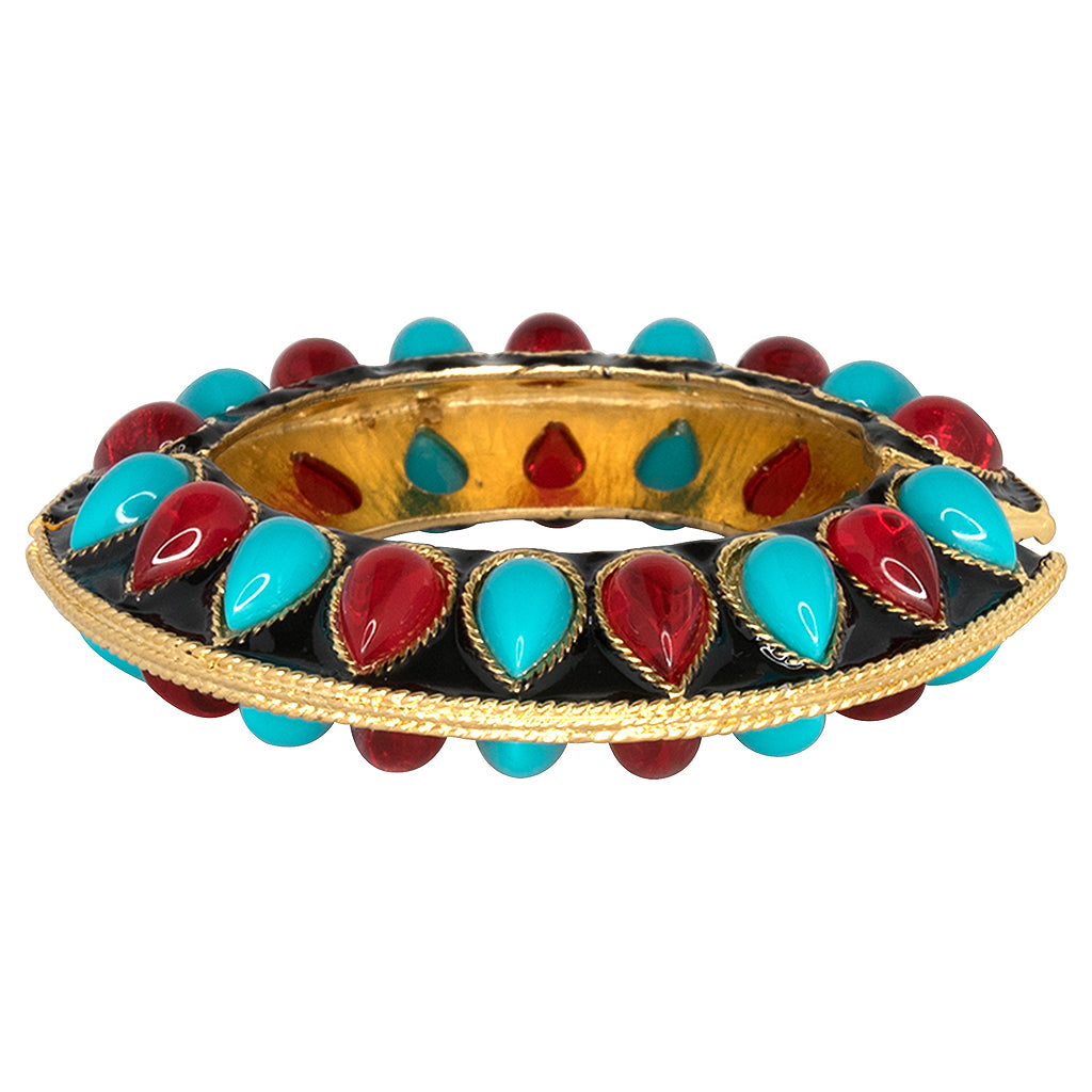 Kenneth Jay Lane Turquoise Overlap Stretch Cuff Turquoise NVei9N