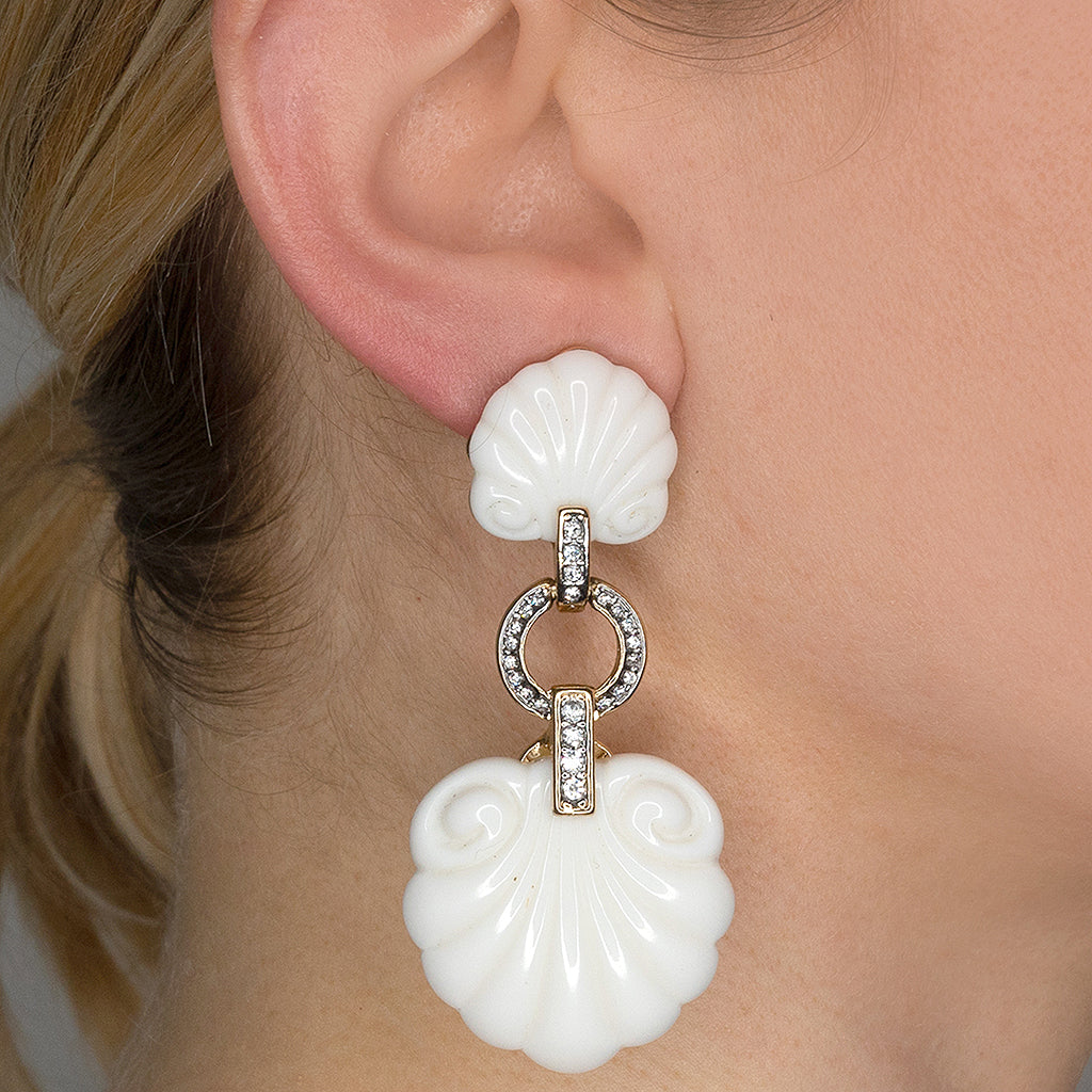 White Shell Drop Clip Earrings