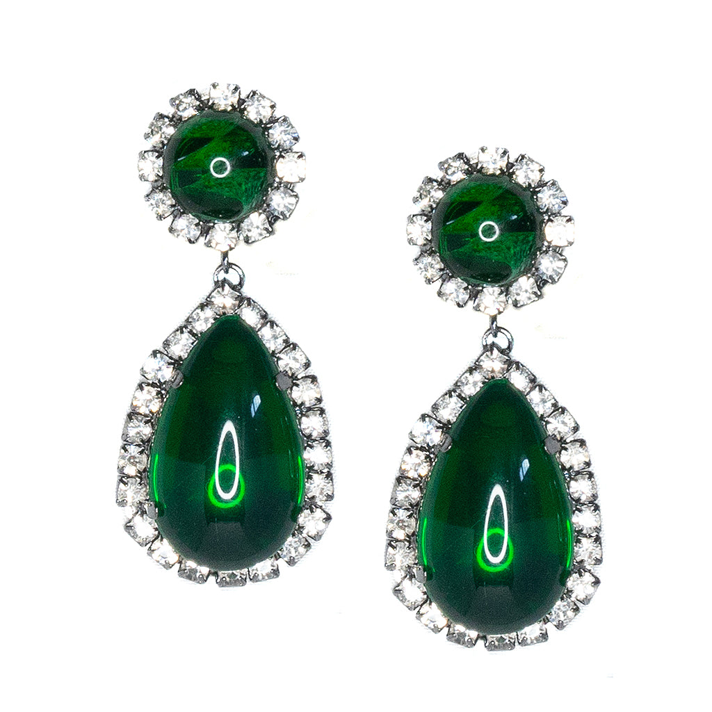 Gunmetal, Crystal And Emerald Cabochon Teardrop Clip Earrings