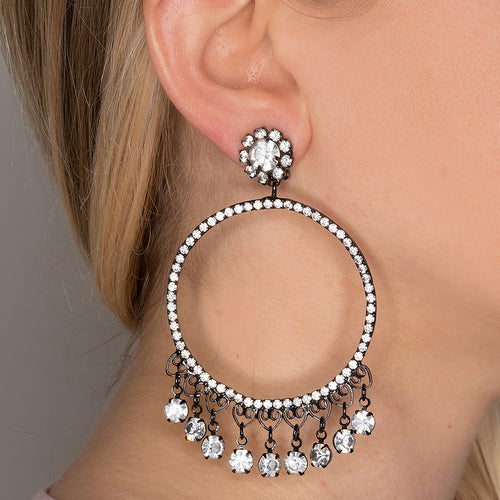 Large Open Circle Clip Earrings