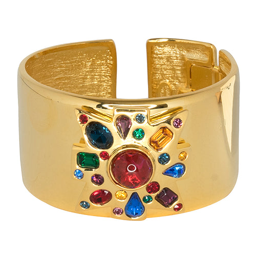 Polished Gold & Multi Gem Cuff
