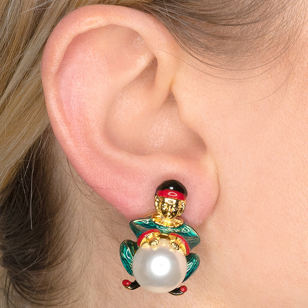 Pearl Buddha Clip Earrings