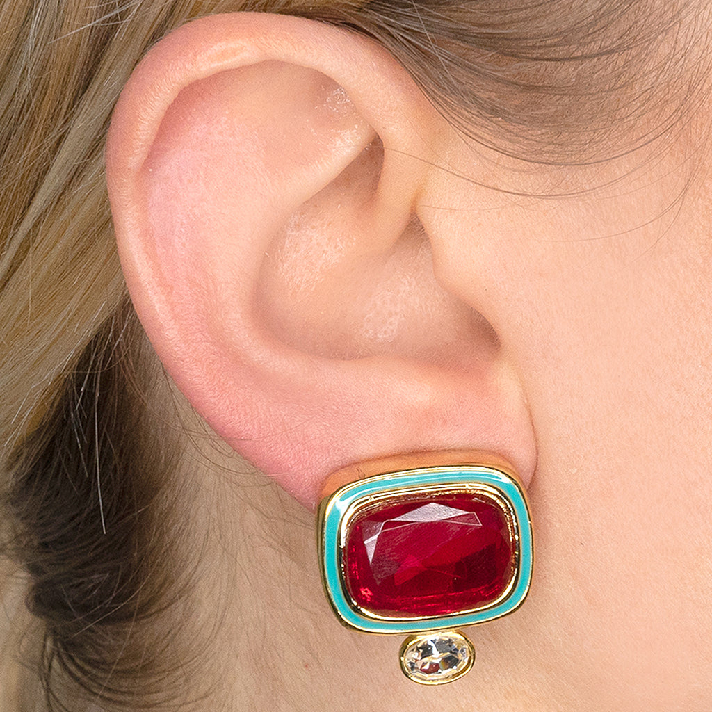 Ruby & Crystal Clip Earrings