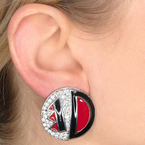 Black/Red Deco Button Clip Earrings