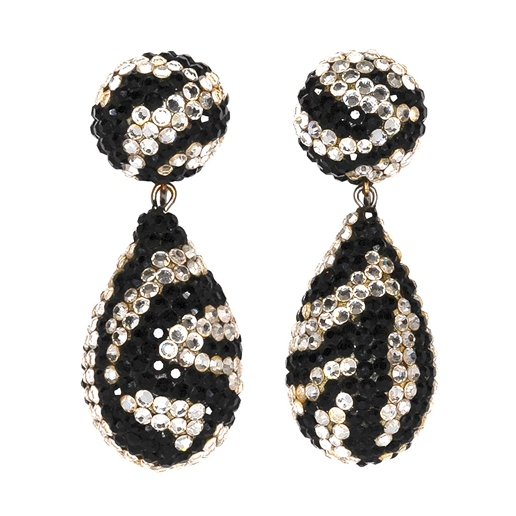 White And Black Drop Clip Earrings
