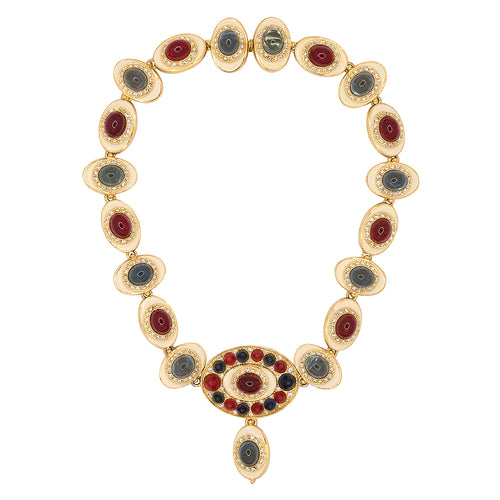 Gold And Ruby With Blue Cabachons Necklace