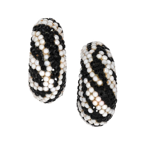 White And Black Hoop Clip Earrings