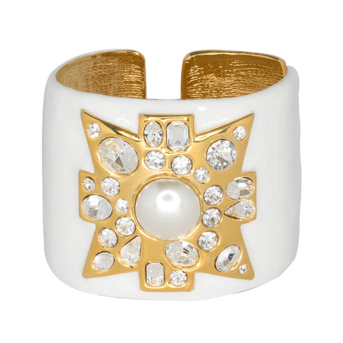 White Maltese Cross Cuff