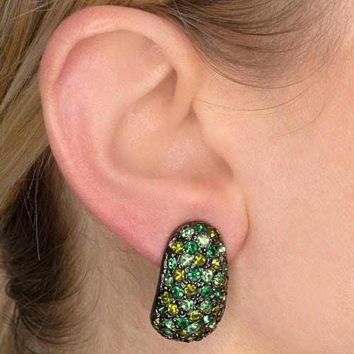 Multi Peridot Pave Clip Earrings
