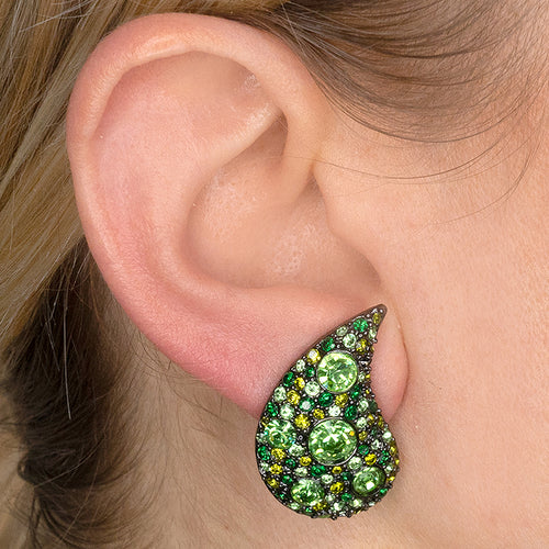Peridot Paisley Clip Earrings