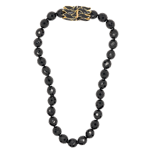 Kenneth Jay Lane Jet Bead Necklace W/ Clear Rhinestone Clasp Jet/gold/black XIIAF0MQwo