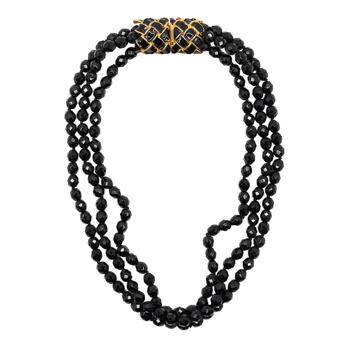 Jet Bead Necklace W/ Gold Pendant