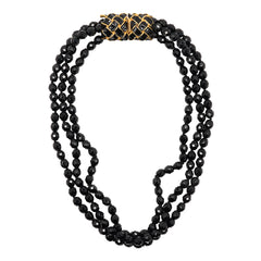Jet Bead Necklace with Gold Pendant