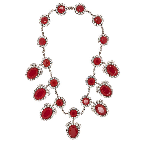 Ruby And Clear Rhinestone Necklace