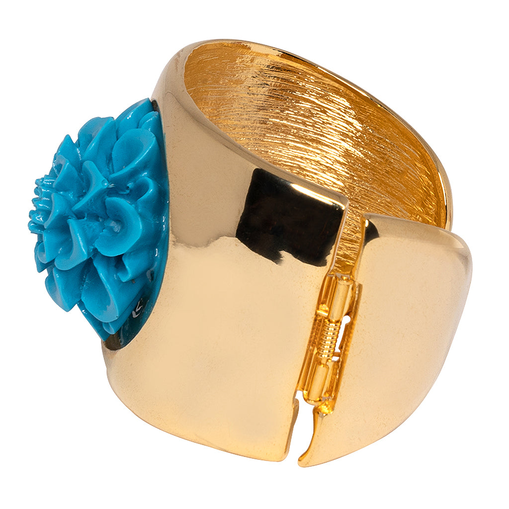 Gold Cuff With Turquoise Flower