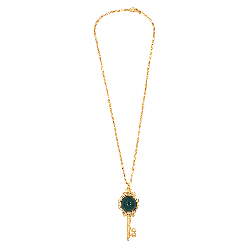 Antique Gold And Chyrsophase Key Pendant Necklace