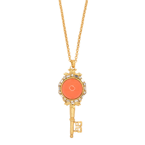 Antique Gold And Coral Key Pendant Necklace