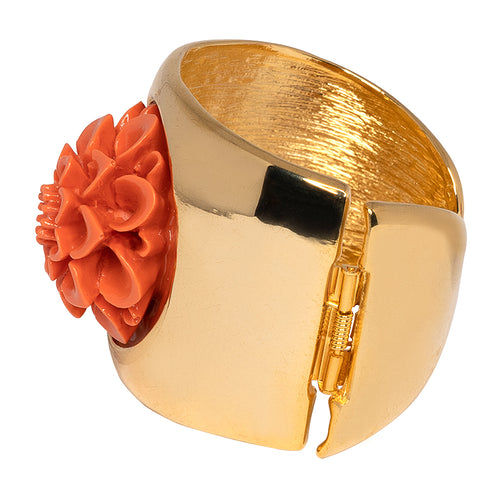 Gold Cuff With Coral Flower