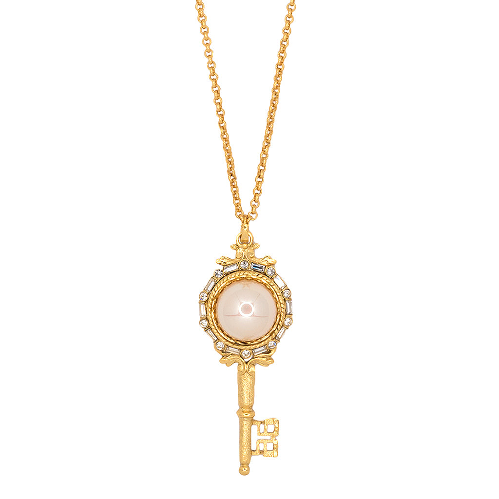 Antique Gold And White Pearl Key Pendant Necklace