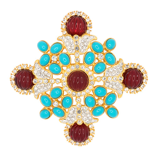 Gold/Crystal Maltese Cross Pin