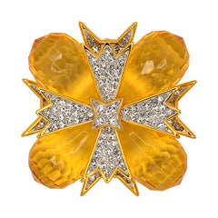 Topaz And Crystal Cross Pin