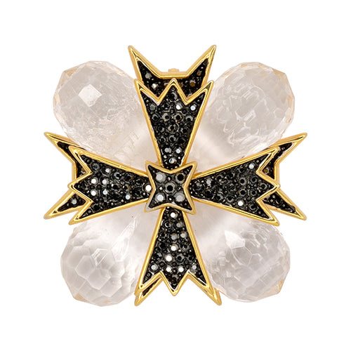 Gold Cross Clear Pin